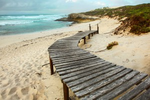 Wooden walkway onto beach