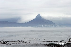 Robben Island.  Lion's Head viewed from island.