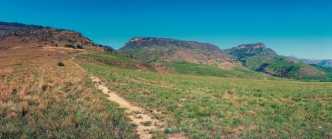 Trail leading to Game Pass Shelter in the Kamberg area of uKhahlamba/Drakensberg Park - a South Afri