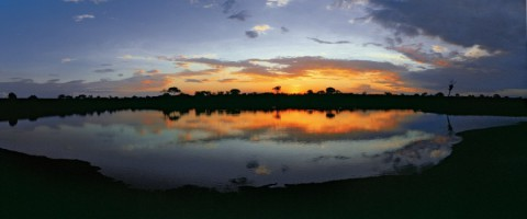 Sunset on a waterhole in Kruger National Park