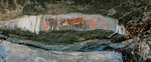 Rock painting at Game Pass Shelter, located at the southern end of uKhahlamba/Drakensberg Park - a S