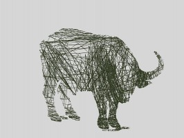 Buffalo Line Drawing - Contemporary Art Print